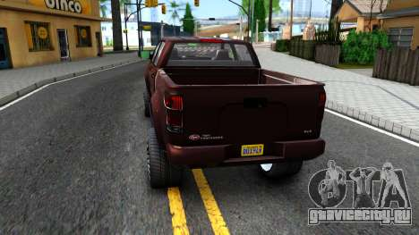 GTA V Vapid Contender для GTA San Andreas вид сзади слева