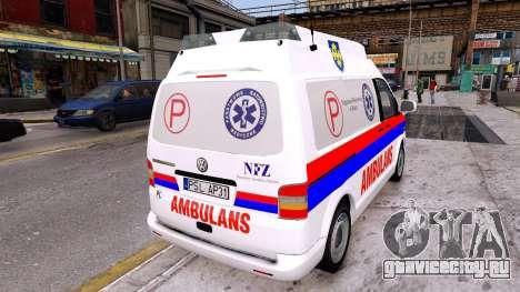Volkswagen T5 Polish Ambulance для GTA 4 вид сзади слева