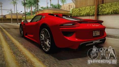 Porsche 918 Spyder 2013 SA Plate для GTA San Andreas вид сзади слева