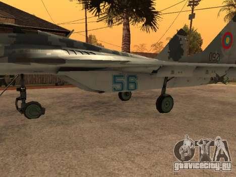 MIG-29 Armenian для GTA San Andreas вид изнутри