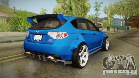 Subaru Impreza WRX STI Rocket Bunny для GTA San Andreas вид сзади слева