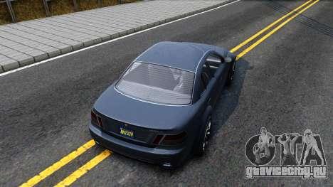 GTA V Ubermacth Sentinel Sedan для GTA San Andreas вид сзади