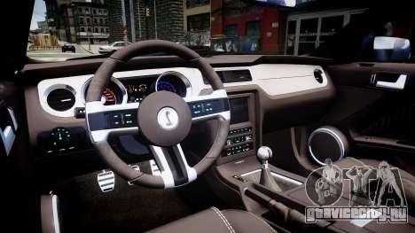 Ford Mustang Shelby GT500 2010 для GTA 4 вид изнутри