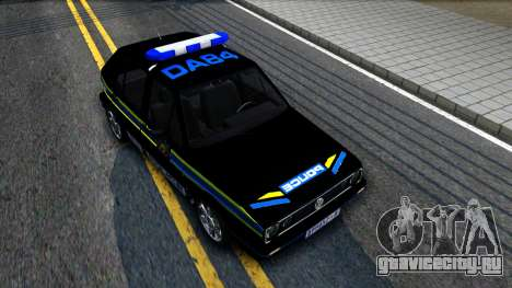 Volkswagen Golf Black South African Police для GTA San Andreas вид справа