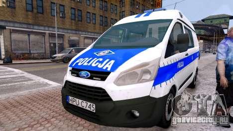 Ford Transit Polish Police 2015 для GTA 4 вид справа
