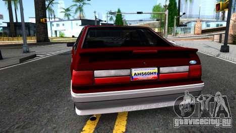 Ford Mustang 1993 для GTA San Andreas вид сзади слева