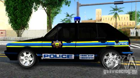 Volkswagen Golf Black South African Police для GTA San Andreas вид слева