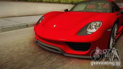 Porsche 918 Spyder 2013 SA Plate для GTA San Andreas салон