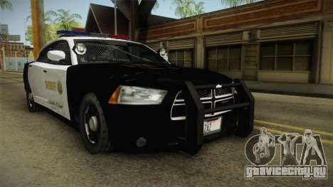 Dodge Charger Sheriff для GTA San Andreas вид справа