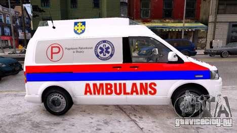 Volkswagen T5 Polish Ambulance для GTA 4 вид слева
