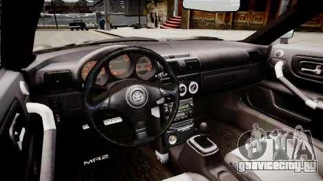 Toyota MRS2 для GTA 4 вид изнутри