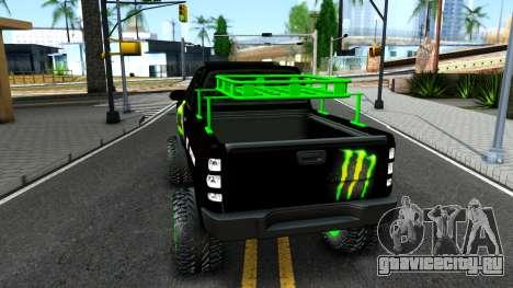 Chevrolet Silverado Monster Energy V2 для GTA San Andreas вид сзади слева