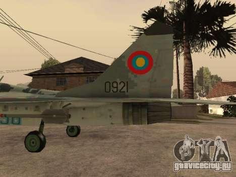 MIG-29 Armenian для GTA San Andreas вид слева