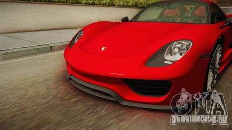 Porsche 918 Spyder 2013 SA Plate для GTA San Andreas вид снизу