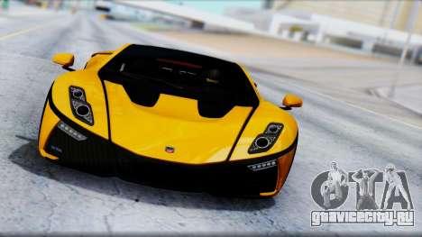 Spania GTA Spano 2016 для GTA San Andreas вид изнутри