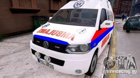 Volkswagen T5 Polish Ambulance для GTA 4 вид справа