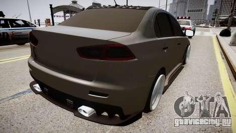 Mitsubishi Lancer Evolution X Stance для GTA 4 вид сзади слева