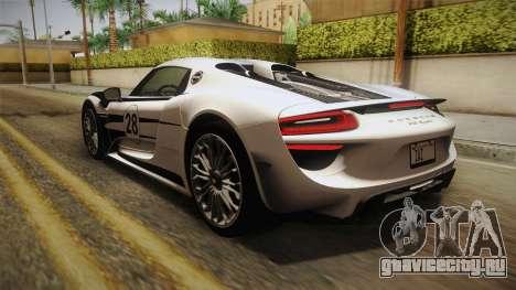 Porsche 918 Spyder 2013 SA Plate для GTA San Andreas