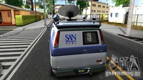 GTA V Declasse Burrito News для GTA San Andreas вид сзади слева