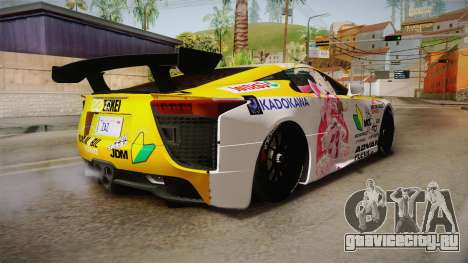 Lexus LFA Beatrice The Orange of ReZero для GTA San Andreas вид сзади слева