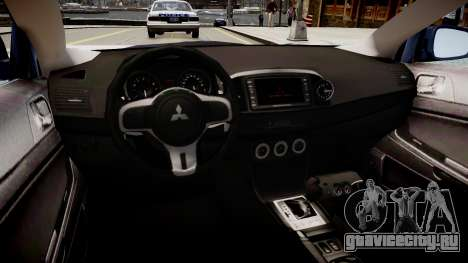Mitsubishi EVO IX 2009 для GTA 4 вид изнутри