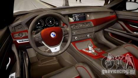BMW M5 F10 Autovista для GTA 4 вид изнутри