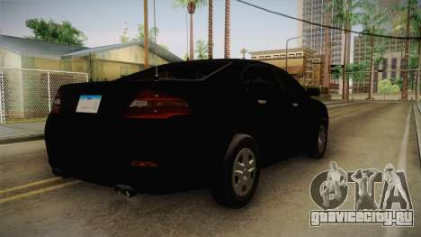 Vapid Interceptor 2013 Unmarked для GTA San Andreas вид сзади слева