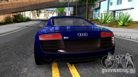 Audi R8 5.2 FSI quattro 2010 для GTA San Andreas вид сзади слева