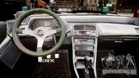 Honda CRX 1992 для GTA 4 вид изнутри