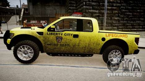 Ford Raptor SVT Department Lifeguard для GTA 4 вид сзади слева