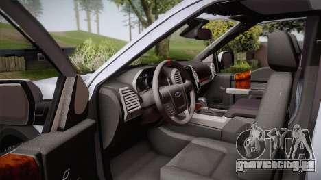 Ford F-150 Raptor 2017 для GTA San Andreas вид изнутри