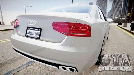 Audi S8 2013 для GTA 4 вид сзади слева