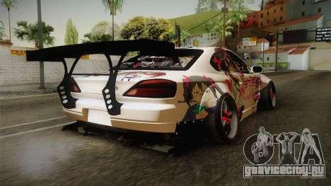 Nissan Silvia S15 Rocket Bunny Itasha для GTA San Andreas вид сзади слева