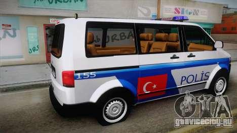 Volkswagen Transporter Turkish Police для GTA San Andreas вид слева
