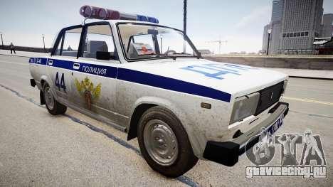 ВАЗ 2105 Полиция для GTA 4 вид справа