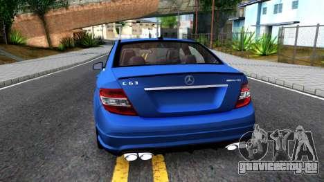 Mercedes-Benz C63 AMG для GTA San Andreas вид сзади слева