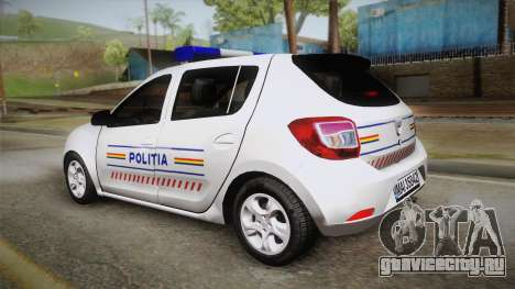 Dacia Sandero 2016 Romanian Police для GTA San Andreas вид слева