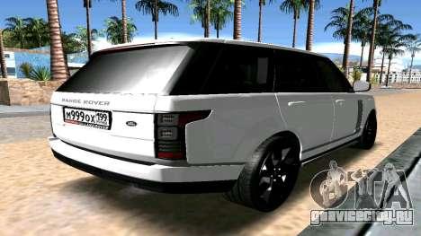 Range Rover для GTA San Andreas вид сзади слева