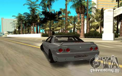 Nissan Skyline GT-R для GTA San Andreas вид сзади слева
