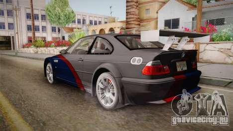 NFS: MW - BMW M3 GTR (E46) Hidden Vinyl Version для GTA San Andreas вид слева