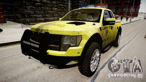 Ford Raptor SVT Department Lifeguard для GTA 4 вид справа