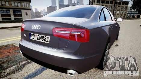 Audi A6 2012 Style для GTA 4 вид сзади слева