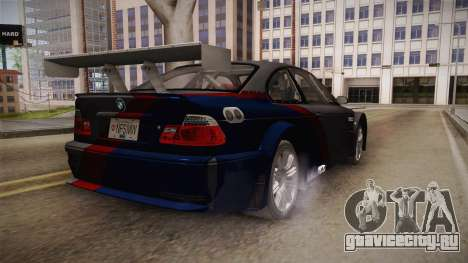 NFS: MW - BMW M3 GTR (E46) Hidden Vinyl Version для GTA San Andreas вид сзади слева