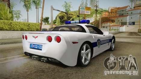 Chevrolet Corvette C6 Serbian Police для GTA San Andreas вид сзади слева