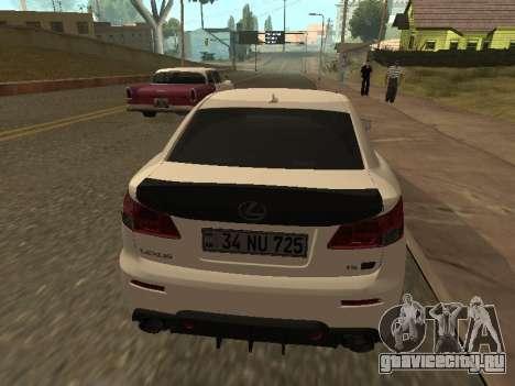 Lexus IS F Armenian для GTA San Andreas вид изнутри