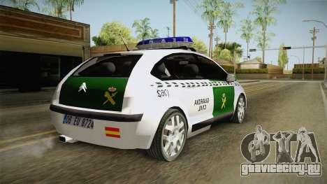 Citroen C4 Guardia Civil для GTA San Andreas вид справа