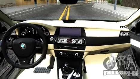 BMW 520d F10 2012 для GTA San Andreas вид изнутри