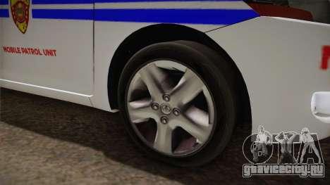 Toyota Vios Philippine Police для GTA San Andreas вид сзади