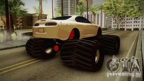 Toyota Supra Monster Truck для GTA San Andreas вид сзади слева