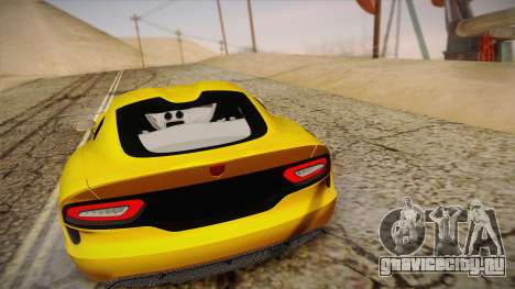 Dodge Viper SRT 2013 для GTA San Andreas вид изнутри